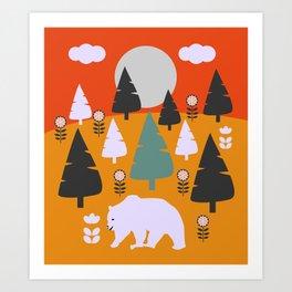 Bear walking between flowers and pine trees Art Print