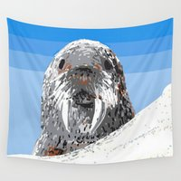 walrus Wall Tapestries featuring Walrus by wingnang