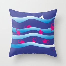 Holiday on Waves Throw Pillow