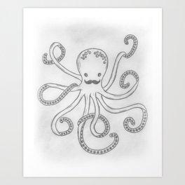 Hipster Octopus Art Print