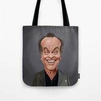 celebrity Tote Bags featuring Celebrity Sunday ~ Jack Nicholson by rob art | illustration