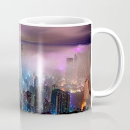 Gorgeous Misty Cityscape At Night Lilac Saturation Ultra High Definition Coffee Mug