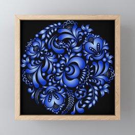 Gzhel black pattern Framed Mini Art Print