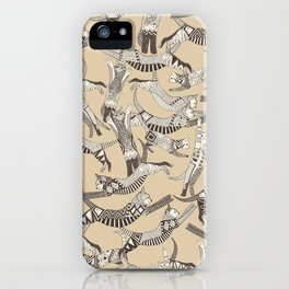 cat party beige natural iPhone Case