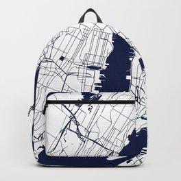 New York City White on Navy Backpack