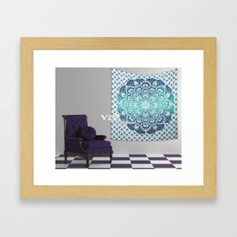 Hippie Bedding Ombre Tapestry Wall Hangings Aqua Green Framed Art Print