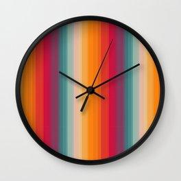 Retro Rainbow Striped Pattern Wall Clock