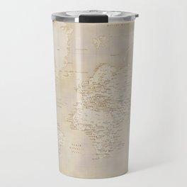 Vintage world map in sepia and gold, Kellen Travel Mug