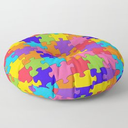 Colorful Jigsaw Puzzle Pattern Floor Pillow