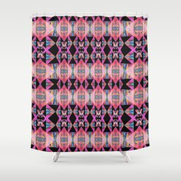 Diamond Geometric Power Pattern in Broad Spectrum Pink Shower Curtain