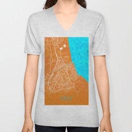 Bray, Ireland, Gold, Blue, City, Map Unisex V-Neck