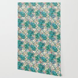 Muted Moroccan Mosaic Tiles with Palm Leaves Wallpaper