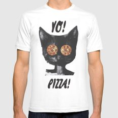 Pizza cat MEDIUM White Mens Fitted Tee