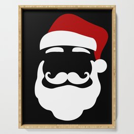 Hipster Santa Claus With Sunglasses Funny Gift for Christmas Serving Tray