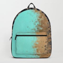 turquoise, gold, and black painting Backpack