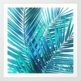Turquoise Palm Leaves Art Print
