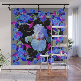 BLUE MORNING GLORIES & WHITE IRIS  SPRING  GARDEN ART Wall Mural