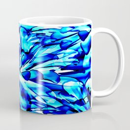 Painterly Ocean Blue Floral Abstract Coffee Mug