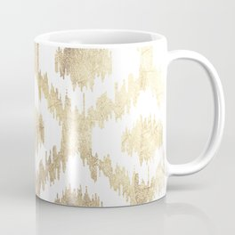 Modern white hand drawn ikat pattern faux gold  Coffee Mug