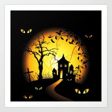 Halloween Castle Nightmare Art Print