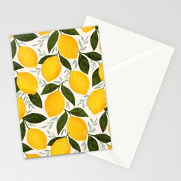 Mediterranean Summer Lemons Pattern Stationery Cards