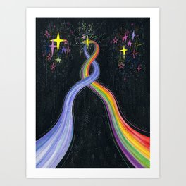 Two paths converging Art Print