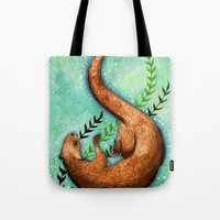 otter Tote Bags featuring Otter by Georgia Roberts