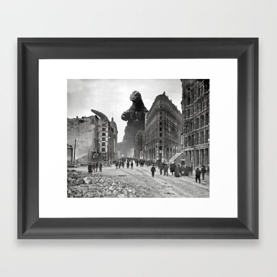 Old Time Godzilla in San Francisco Framed Art Print