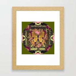 Ornate Mauve Swallow Tailed Butterfly Yellow-Khaki Design Framed Art Print