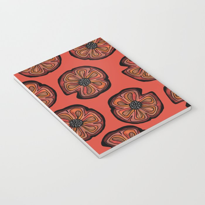 Rusted Poppy Pattern - red and brown poppies autumn fall Notebook