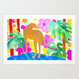 Jaguar in Tropical Garden Art Print