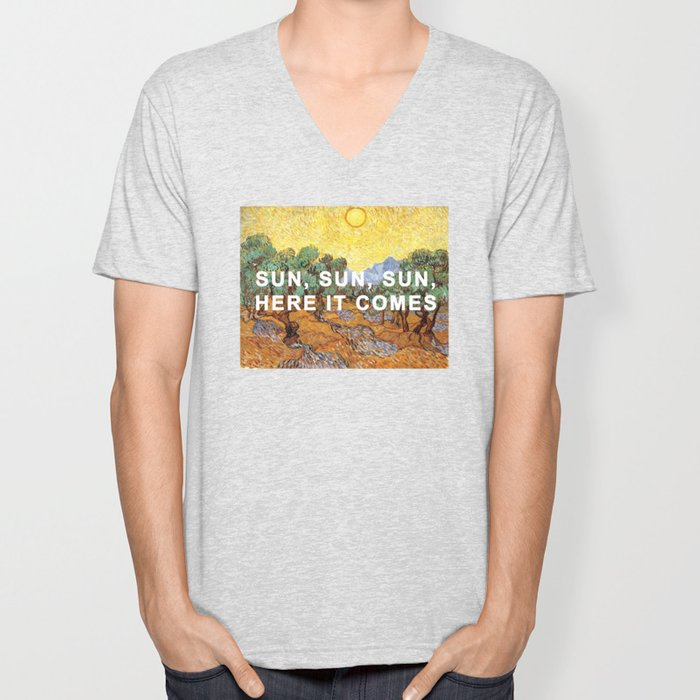 Here Comes the Yellow Sky and Sun Unisex V-Neck