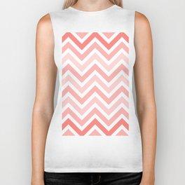 Geometrical mauve coral white modern chevron pattern Biker Tank