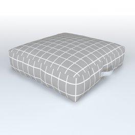 Minimalist Window Pane Grid, Dove Gray Outdoor Floor Cushion
