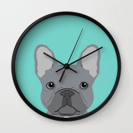 French Bulldog cute grey puppy funny bulldog pet gift for dog person loved one valentines day dogs Wall Clock