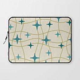 Mid Century Modern Cosmic Star Pattern 693 Cream Turquoise Olive Laptop Sleeve