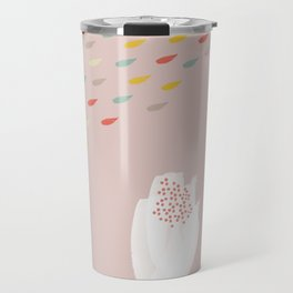 Pink Spring Watercolor with White Flowers Travel Mug