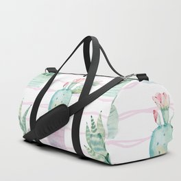 Cute Potted Cacti Stripe Pattern Duffle Bag