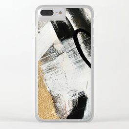 Armor [9]: a minimal abstract piece in black white and gold by Alyssa Hamilton Art Clear iPhone Case