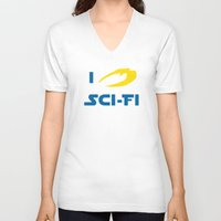 sci fi V-neck T-shirts featuring I heart Sci-Fi by ihearteverything