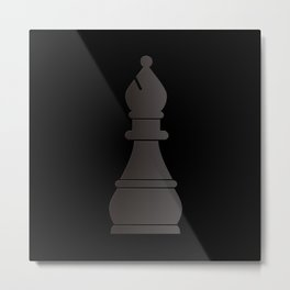 Black bishop chess piece Metal Print