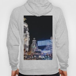 Gran Via Street at Night Hoody