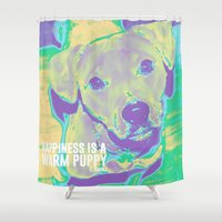 pitbull Shower Curtains featuring Happiness: Pitbull (Dog)  by PupKat
