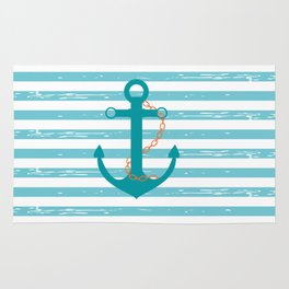 AFE Nautical Teal Ship Anchor Rug