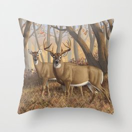 Whitetail Deer Trophy Buck and Doe in Autumn Throw Pillow