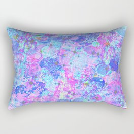 TIME FOR BUBBLY, AGAIN - Pastel Turquoise Baby Blue Purple Pink Feminine Bubbles Abstract Painting Rectangular Pillow