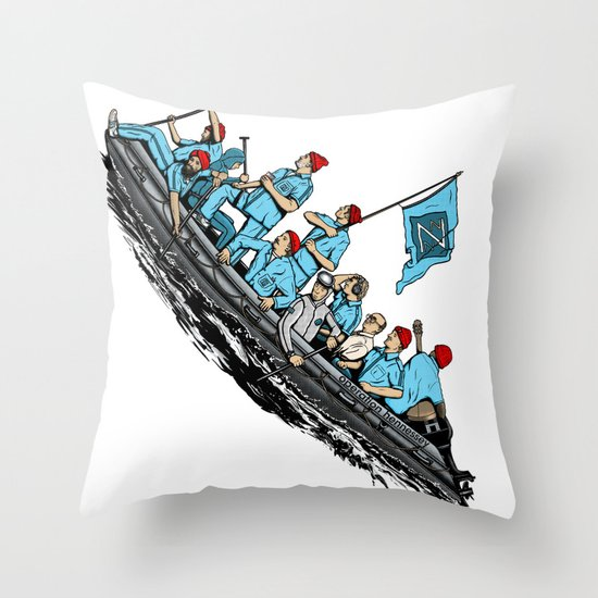 Team Zissou Crossing the Delaware Throw Pillow