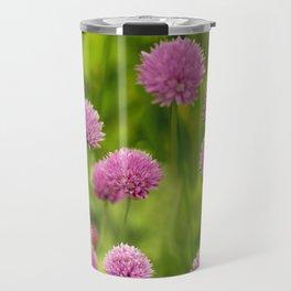 Bumble Bees on Pink Chives Travel Mug