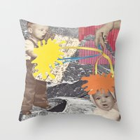 kids Throw Pillows featuring Kids by collageriittard