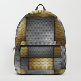Gold Silver Metallic Perforated Metal Checkerboard Pattern Backpack